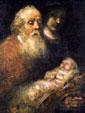 Старец Симеон держит на руках Младенца Иисуса. Изображение художника Рембрандта Харменса ван Рейна, «Сретение»
