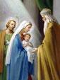 Дева Мария держит на руках Младенца Иисуса, показывая Его в храме старцу Симеону.