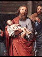 Святой Симеон держит на руках Младенца-Спасителя Иисуса Христа. Изображение французского живописца Филиппа де Шампэнь, «Св. Симеон Богоприимец», Брюссельский музей.